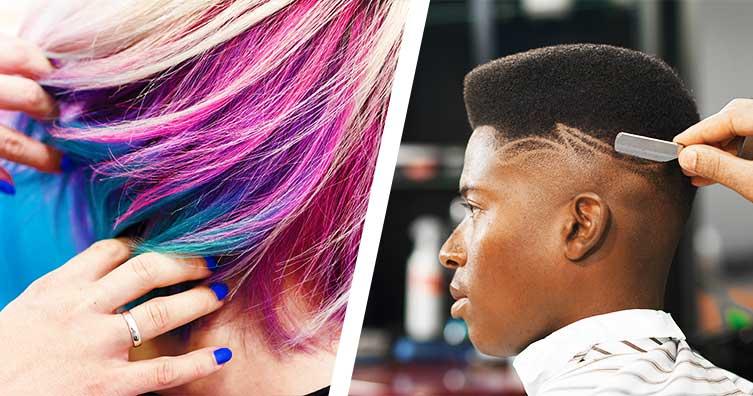 Hairdresser haircut pink blue hair shave trim