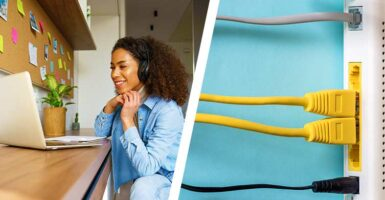 woman sat at desk and cables in internet router