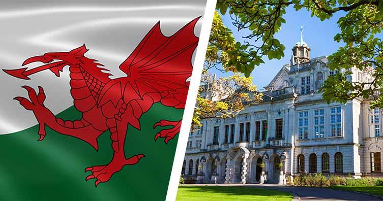 welsh flag and cardiff university