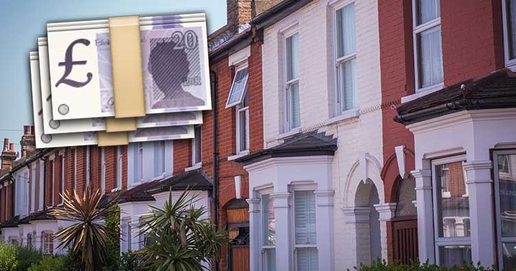terraced houses with £20 notes