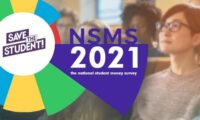 Students in lecture hall with a graph in the foreground with text saying 'NSMS 2021 the national student money survey'