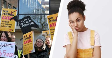 UCU strikes and woman looking annoyed